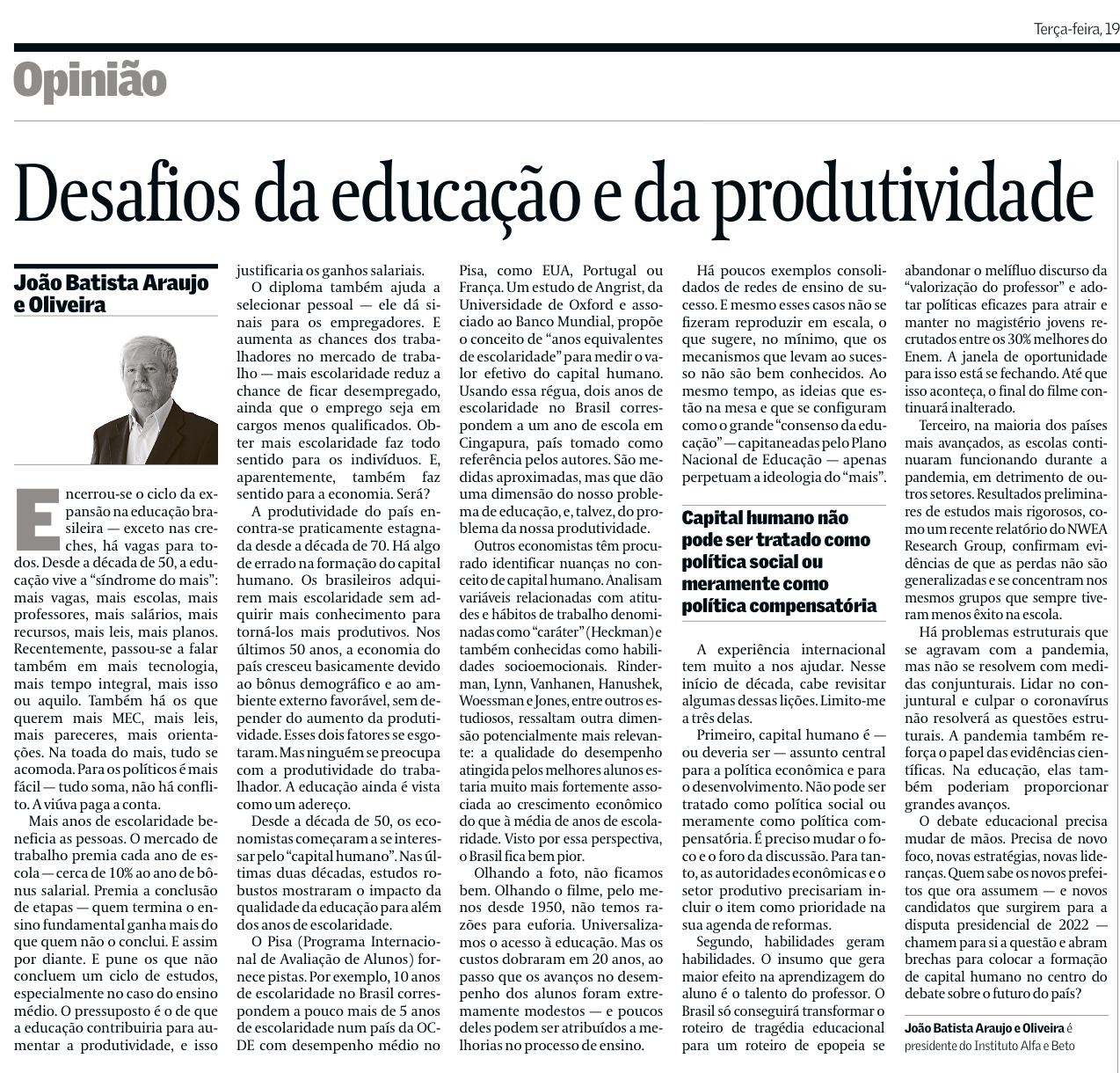 artigo João Batista Oliveira